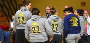Lauren Hill, center, speaks with teammates before a check presentation at Mount St. Joseph University earlier this year. (CT Photo/John Stegeman)