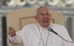 Pope Francis speaks during his general audience in St. Peter's Square at the Vatican April 22. (CNS photo/Paul Haring)