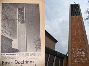 The iconic tower of St. Joseph Catholic Church, seen left in a 1965 photo from The Catholic Telegraph and seen at right April 9, 2015. (CT File & CT Photo John Stegeman)