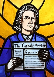 Servant of God Dorothy Day, co-founder of the Catholic Worker movement and its newspaper, The Catholic Worker, is depicted in a stained-glass window at Our Lady Help of Christians Church in the Staten Island borough of New York. Day was received into the Catholic church at Our Lady Help of Christians in 1927 at age 30. (CNS photo/Gregory A. Shemitz)