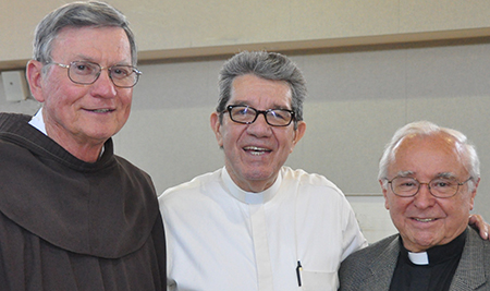 From left to right, Fathers Joe Nelson, Samuel Gonzalez, and Louis  Gasparini (all linked through Hispanic ministry). (CT Photo/Jeff Unroe)