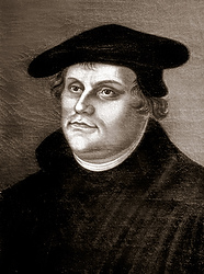 Martin Luther, a German monk, is depicted in this painting at a church in Helsingor, Denmark. His 95 theses posted on a church door in Wittenberg, Germany, in October 1517 called for reform in the Catholic Church, which set off a series of debates and led to his excommunication and the start of the Reformation about four years later. (CNS photo/Crosiers)