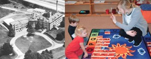 At left, St. Rita School for the Deaf is seen in an aerial photograph. Right, Classroom assistant Jennifer Estes works with St. Rita students James Schlichter and Aubrey Ernst on letter recognition. (CT File/Courtesy Photo)
