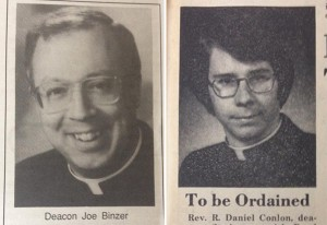 At left, Auxiliary Bishop of Cincinnati Joseph R. Binzer is seen prior to his 1994 ordination. At right, Bishop Robert D. Conlon is seen prior to his ordination in 1977. (CT Files)