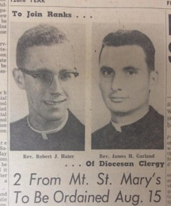 Bishop James Garland, pictured at right with a fellow ordinand, is seen prior to his ordination as a priest in 1959. (CT File)