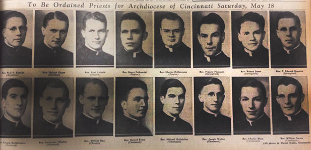 The ordination class of 1940. Clipping from May 10, 1940 edition of The Catholic Telegraph-Register. (CT File)