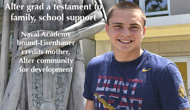 Andrew Eisenhauer, a senior at Alter High School, credits his mother and the family atmosphere of his school for making him the Catholic he is today. Eisenhauer will attend the US Naval Academy next year. (CT Photo/John Stegeman)