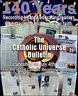A house ad that appeared on the Catholic Universe Bulletin's website advertised the paper's long history. (Screencap)
