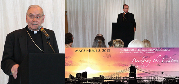 Bishop of Covington Roger J. Foys, left, and Archbishop of Cincinnati Dennis M. Schnurr, top right, spoke during the National Safe Environment and Victim Assistance Coordinators Leadership Conference co-hosted by their two dioceses. (Photos courtesy of The Messenger)