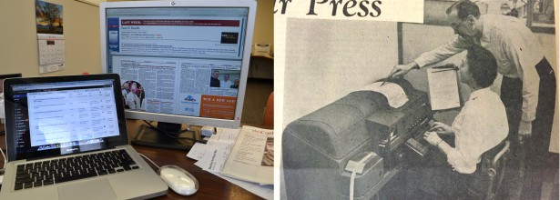 Left, the modern day web and print production apparatus for The Catholic Telegraph is a MacBook Pro computer. At right, a teletypesetter machine was once one of many machines needed for producing a newspaper.