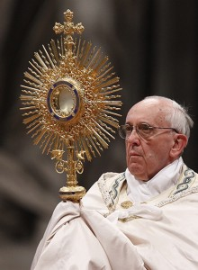 Pope Francis leads the Benediction following eucharistic adoration in St. Peter's Basilica at the Vatican June 2, 2013. (CNS photo/Paul Haring)