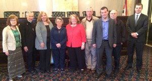 Delegates from the Dayton-area of teh Archdiocese at the Ohio Statehouse: Pat Rooney, Fr. David Vincent, Kathy Trangenstein, Maryellen Fargey, Pam Long, Bob Niehoff, Josh Danis, Ron Bird, and Senate President Keith Faber aide, Tom. (Courtesy Photo)