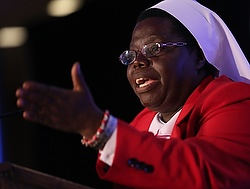 Sister Rosemary Nyirumbe, a member of the Sisters of the Sacred Heart of Jesus, based in Juba, South Sudan, who is serving in Uganda, delivers a keynote address June 25 during the 2015 Catholic Media Conference in Buffalo, N.Y. (CNS photo/Bob Roller)