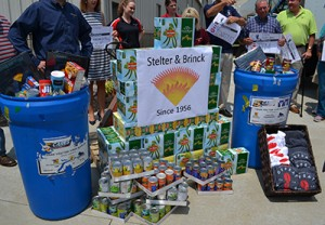The donation from Stelter and Brinck would have likely filled three St. Vincent DePaul donation barrels. (CT Photo/John Stegeman)