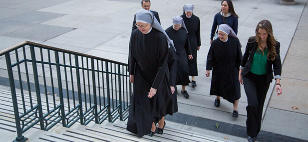 Little Sisters of the Poor enter the court house at 10th Circuit Court of Appeals for oral arguments. (Courtesy Photo/The Becket Fund for Religious Liberty)