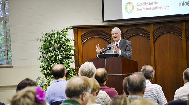 William B. May, president of Catholics for the Common Good, speaks at the Athenaeum of Ohio's Bartlett Center July 19. (CT Photo/John Stegeman)