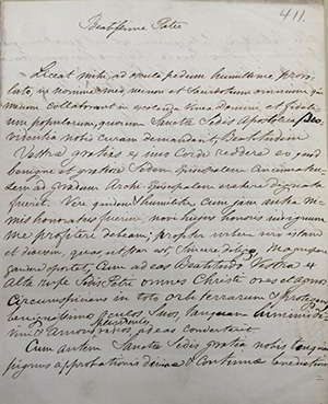 A handwritten rough draft of a letter in Latin from Archbishop of Cincinnati John B. Purcell to Pope Pius IX from 1850. (Archdiocese of Cincinnati Archives)
