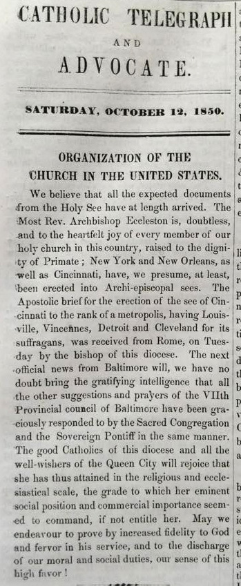From the Oct. 12, 1850 edition of The Catholic Telegraph and Advocate. (Archdiocese of Cincinnati Archives)