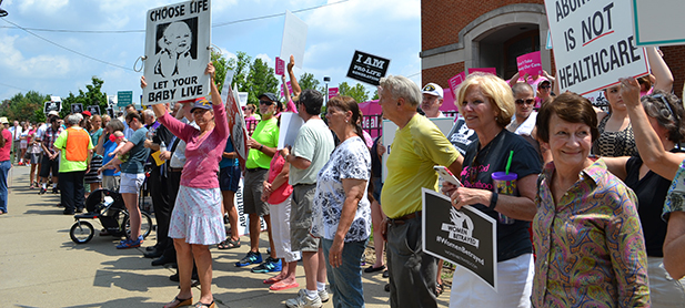 Nearly 500 supporters of life turned out Tuesday for the Women Betrayed Rally in front of the Planned Parenthood on Auburn Avenue in Cincinnati. A counter-rally by Planned Parenthood brought out roughly 65 people. (CT Photo/John Stegeman)