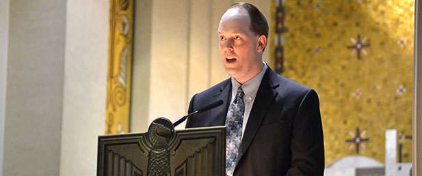 Superintendent of Catholic Schools Jim Rigg speaks during the 2015 Catholic Schools Week Mass at the Cathedral of St. Peter in Chains in Cincinnati. (CT Photo/John Stegeman)