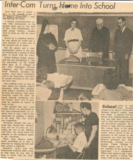 This article comes from the May 18, 1962 edition of The Catholic Telegraph-Register. It tells of a young boy who is able to learn at home via intercom technology. (CT File)