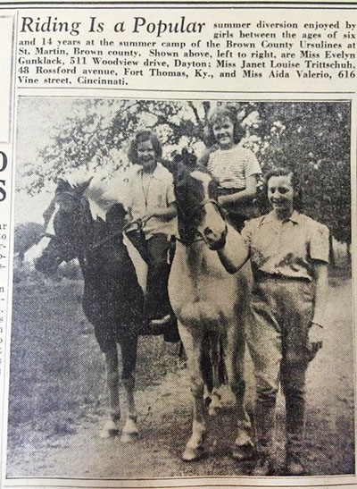 In this photo, published just more than 75 years ago in The Catholic Telegraph, a group of girls enjoy a summer activity of riding horses. (CT File)