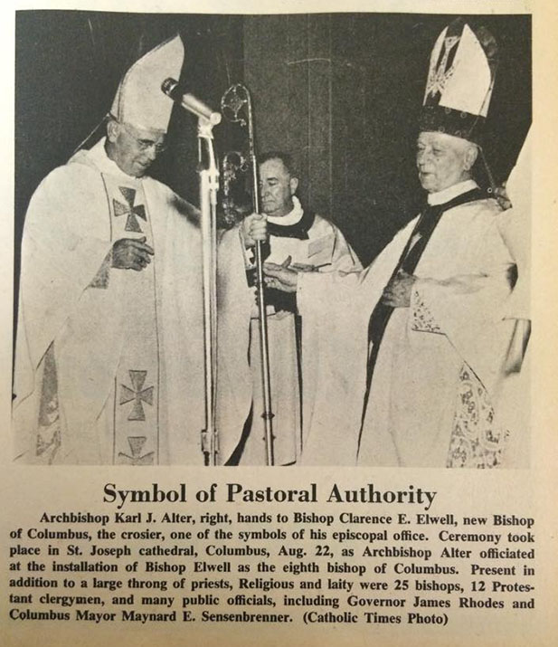 Image shows Archbishop of Cincinnati Karl J. Alter participating in the installation of Bishop Clarence E. Elwell of Cincinnati in 1968. (CT File)