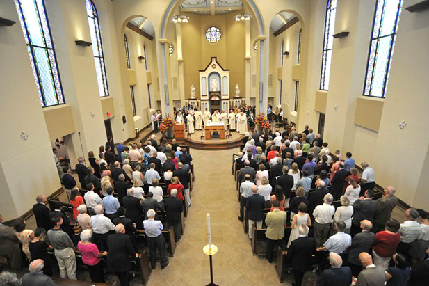The Chapel of the Immaculate Conception at the University of Dayton was packed Sunday, August 16, for a rededication Mass celebrated by Auxiliary Bishop Joseph R. Binzer. (Courtesy Photo/University of Dayton)
