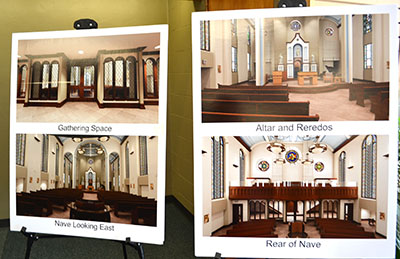 Renderings of how the chapel will look when complete are on display in the temporary chapel in Chaminade Hall. (CT Photo/John Stegeman)