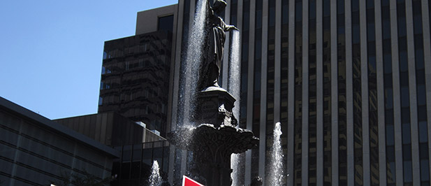The Tyler-Davidson fountain at Fountain Square will be the backdrop for Pope Francis' speech to congress when it is shown on the big screen at Fountain Square. (CT Photo/John Stegeman)