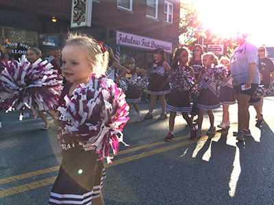 Youth cheerleaders from St. Martin of Tours parish in Cheviot participate in the 156th annual Harvest Home Parade Sept. 10. (CT Photo/John Stegeman)