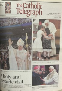The cover of the April 25, 2008 edition of The Catholic Telegraph highlighted Pope Benedict XVI's only visit to the U.S. (CT File)