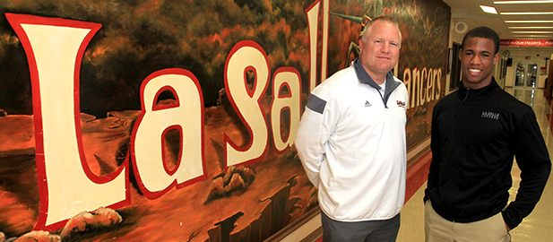 LaSalle head football coach Jim Hilvert, left, and star running back Jeremy Larkin pose for a photo at the school. (CT Photo/E.L. Hubbard)