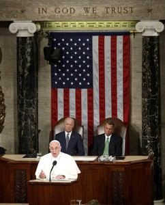 Pope Francis addresses a joint meeting of the U.S. Congress as Vice President Joe Biden (left) and Speaker of the House John Boehner look on in the House of Representatives Chamber at the U.S. Capitol in Washington Sept. 24. (CNS photo/Kevin Lamarque, Reuters)