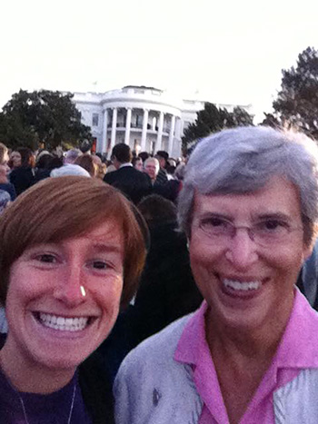 Sister of Charity novice Annie Klapheke and Sister  of Charity Joan Elizabeth Cook were on the White House Lawn for Pope Francis' welcoming ceremony Sept. 23. (Courtesy Photo)