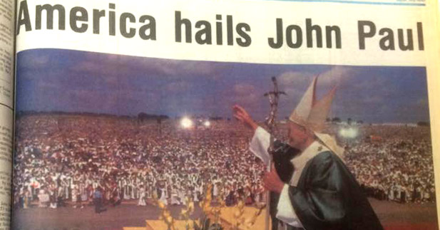 A shot of the cover of a 1987 edition of The Catholic Telegraph shows John Paul II as he visited San Antonio, Texas. That year, Cincinnati came perhaps closest is ever has been to earning a papal visit. (CT File)