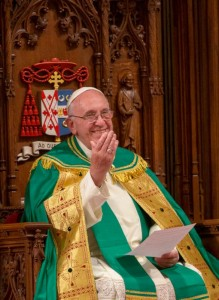 Pope Francis gestures as Cardinal Timothy M. Dolan speaks during an evening prayer service with in St. Patrick's Cathedral in New York Sept. 24. (CNS photo/Mike Crupi)