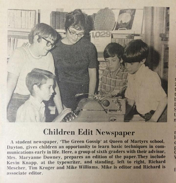 The staff of a student newspaper are shown in this image from a 1971 edition of The Catholic Telegraph. (CT File)