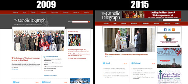 A side-by-side look at TheCatholicTelegraph.com's original 2009 design with the 2015 look. Late next month, TheCatholicTelegraph.com is getting a brand new look.