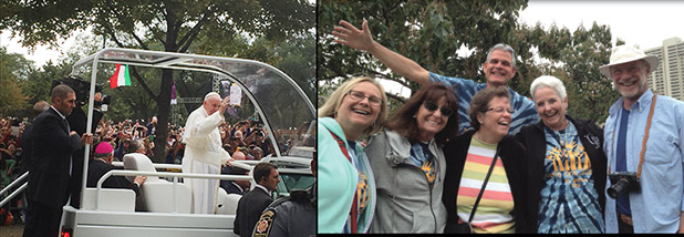 """Left, Pope Francis parades through Philadelphia in the """"Pope-mobile."""" Right, pilgrims from St. Ignatius joyfully await the pope's arrival. (Courtesy Photos)"""