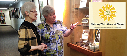A pair of Sisters of Notre Dame de Namur discuss the 175 years of service of their order in the United States. (Courtesy Photo)