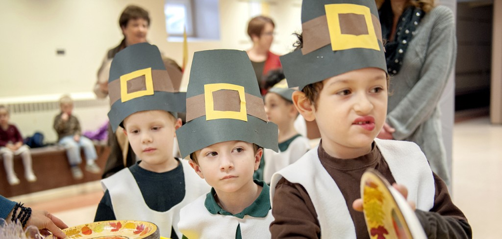 Catholic school students, join other kindergartners in line for a feast Nov. 20 during a Thanksgiving celebration at St. Patrick School in Owego, N.Y.  (CNS photo/Mike Crupi, Catholic Courier)