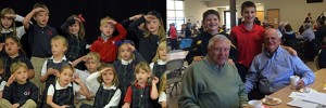 Students from Guardian Angels school, left, salute during a Veteran's Day celebration. At right, participants smile for the camera at a St. Susanna event honoring veterans. (Courtesy Photos)