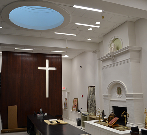 """The interior """"stacks"""" area of the Archdiocese of Cincinnati archives preserved a historic fireplace and skylight. The renovation project was honored with the Rehabilitation Award from the Cincinnati Preservation Association. (CT Photo/John Stegeman)"""