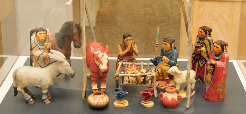 One of more than xxx nativity scenes on display is seen at the University of Dayton xxxx Library. (CT Photo/Jeff Unroe)