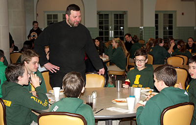 Father Brian Phelps, parochial vicar at Incarnation parish, speaks to students from Incarnation Catholic School during a tour of the Athenaeum of Ohio/Mount St. Mary's Seminary. (Courtesy Photo)
