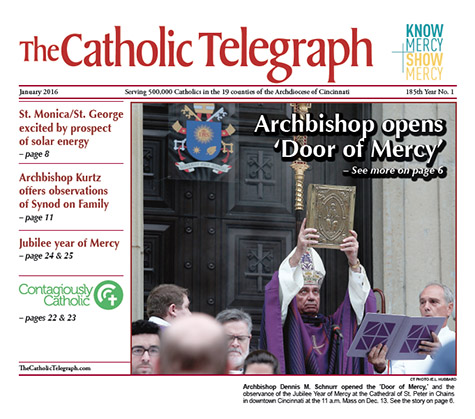 The January 2016 edition of The Catholic Telegraph features information on the Extraordinary Jubilee Year of Mercy.
