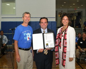 Cincinnati Mayor John Cranley proclaimed Sept. 24, 2015, Mother of Mercy High School Day in Cincinnati in celebration of Mercy's 100 years. He is pictured with Principal Dave Mueller and MECC (Mercy Education Collaborative of Cincinnati) President Kirsten MacDougal. (Courtesy Photo)