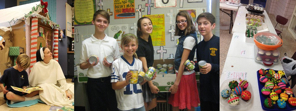 At left, a Domincan sister helps a St. Gertrude student with reading. Center, St. Dominic students raised 1,500 food items. At right, McAuley students sold cupcakes to benefit classmates in need. (Courtesy Photos)