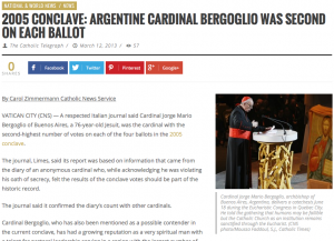 The first full-length feature story on Cardinal Jose Mario Bergoglio appeared on The Catholic Telegraph's website one day before his election as pope. (Screenshot)